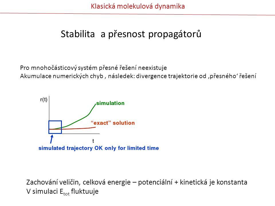 Stabilita a přesnost propagátorů