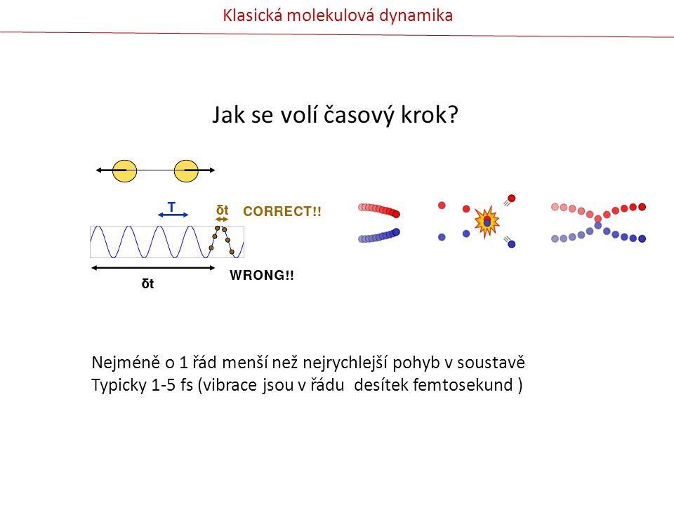 Jak se volí časový krok Klasická molekulová dynamika