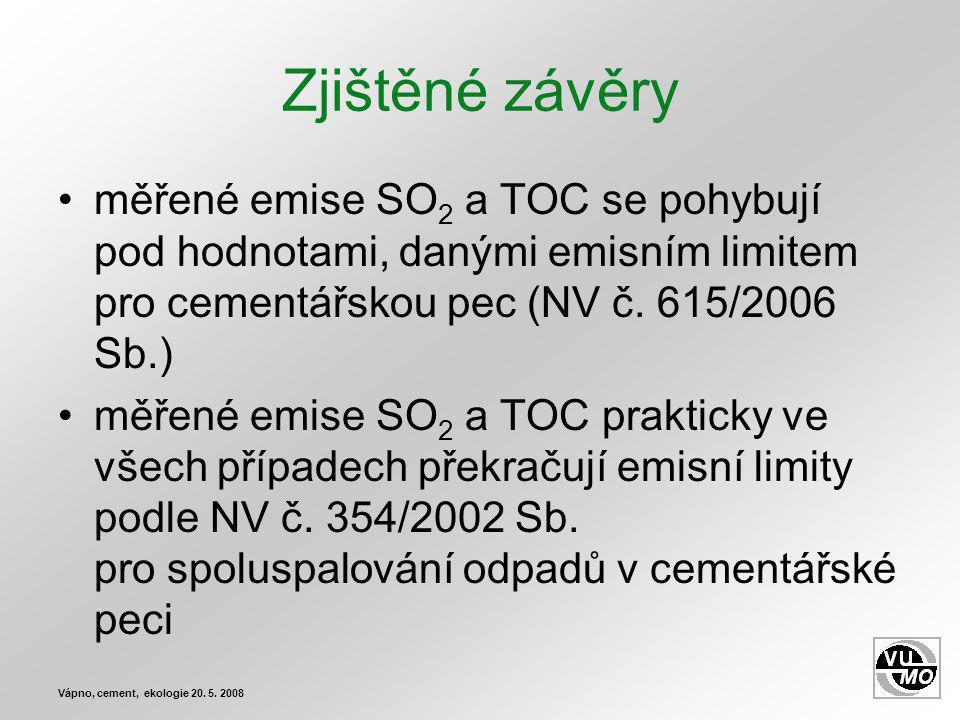 Zjištěné závěry měřené emise SO2 a TOC se pohybují pod hodnotami, danými emisním limitem pro cementářskou pec (NV č. 615/2006 Sb.)