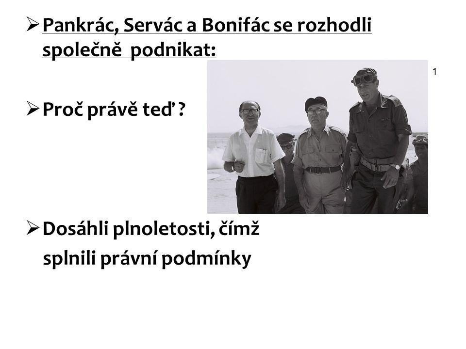 Pankrác, Servác a Bonifác se rozhodli společně podnikat: