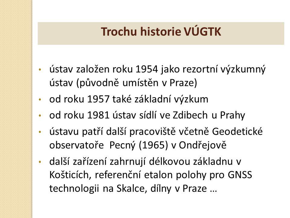Trochu historie VÚGTK ústav založen roku 1954 jako rezortní výzkumný ústav (původně umístěn v Praze)