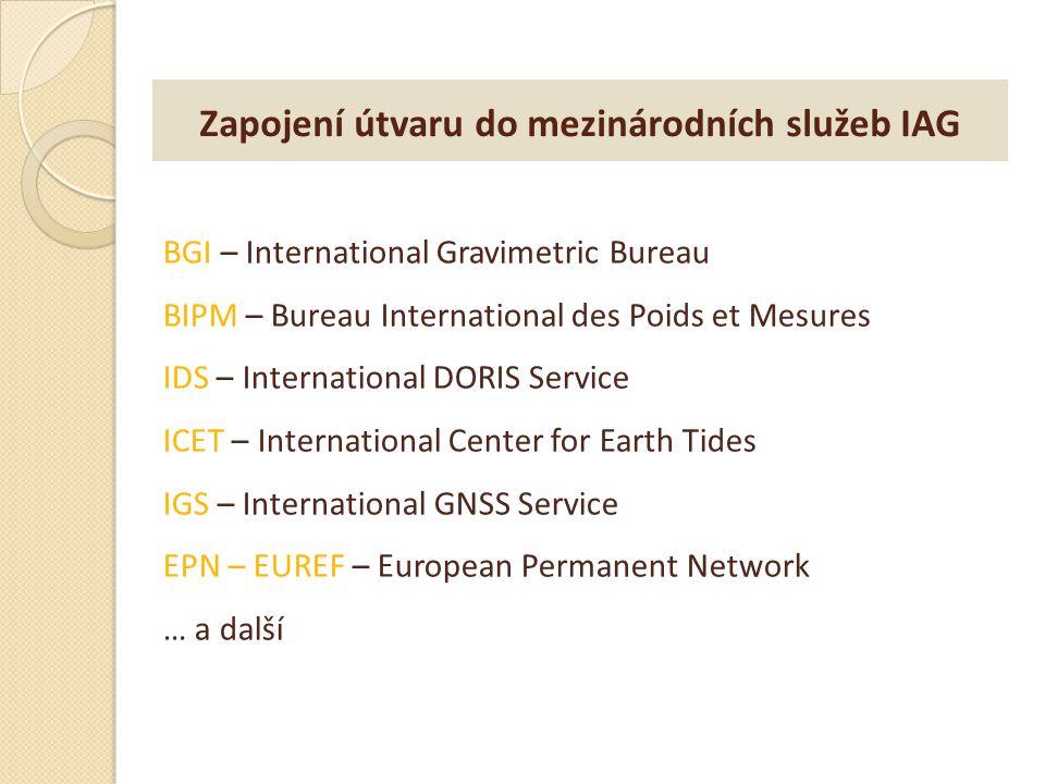 Zapojení útvaru do mezinárodních služeb IAG