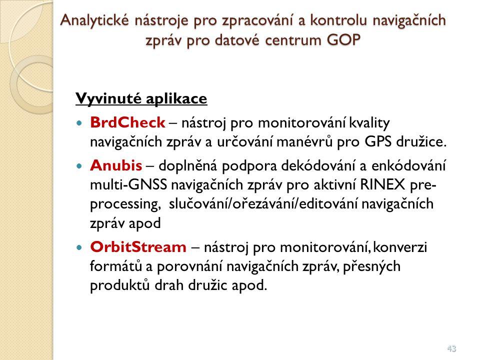 Analytické nástroje pro zpracování a kontrolu navigačních zpráv pro datové centrum GOP
