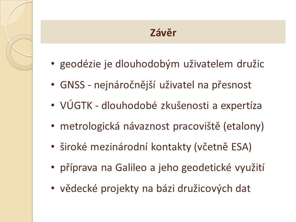 Závěr geodézie je dlouhodobým uživatelem družic. GNSS - nejnáročnější uživatel na přesnost. VÚGTK - dlouhodobé zkušenosti a expertíza.