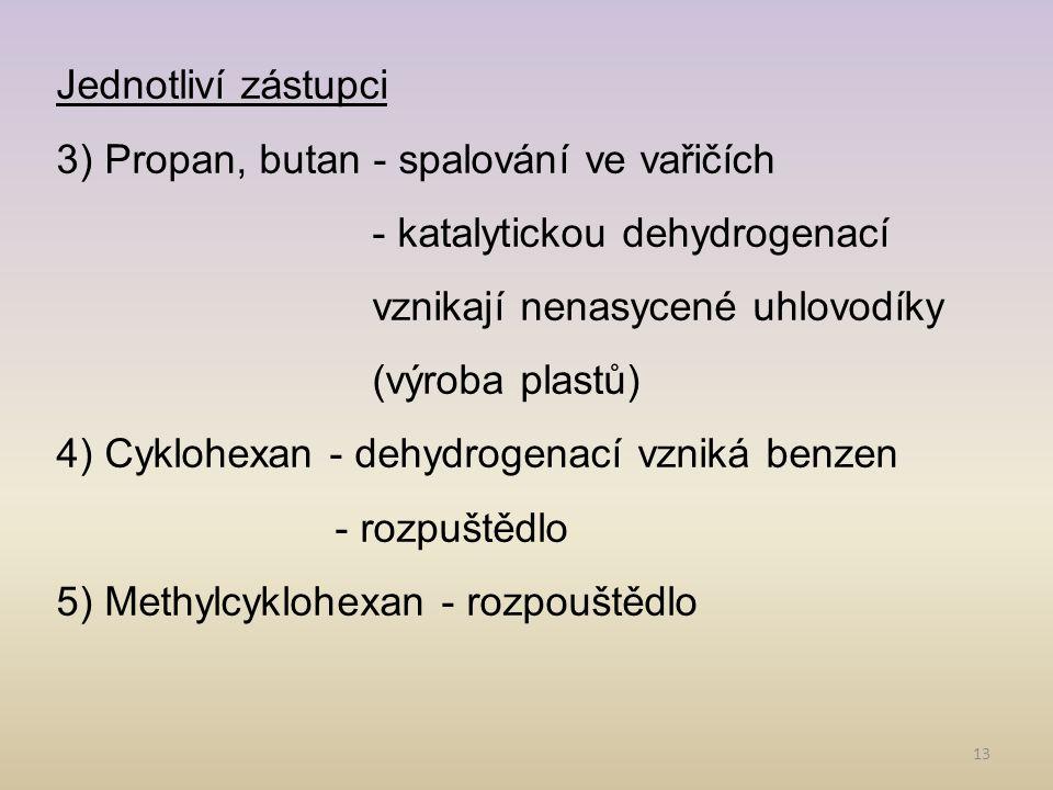 Jednotliví zástupci 3) Propan, butan - spalování ve vařičích. - katalytickou dehydrogenací vznikají nenasycené uhlovodíky (výroba plastů)