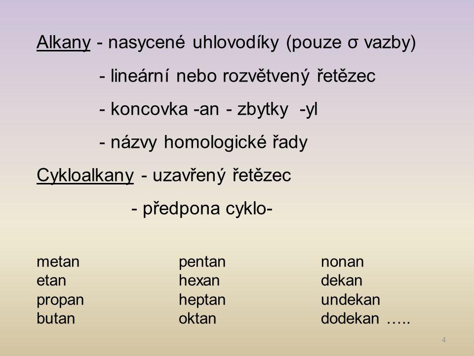Alkany - nasycené uhlovodíky (pouze σ vazby)