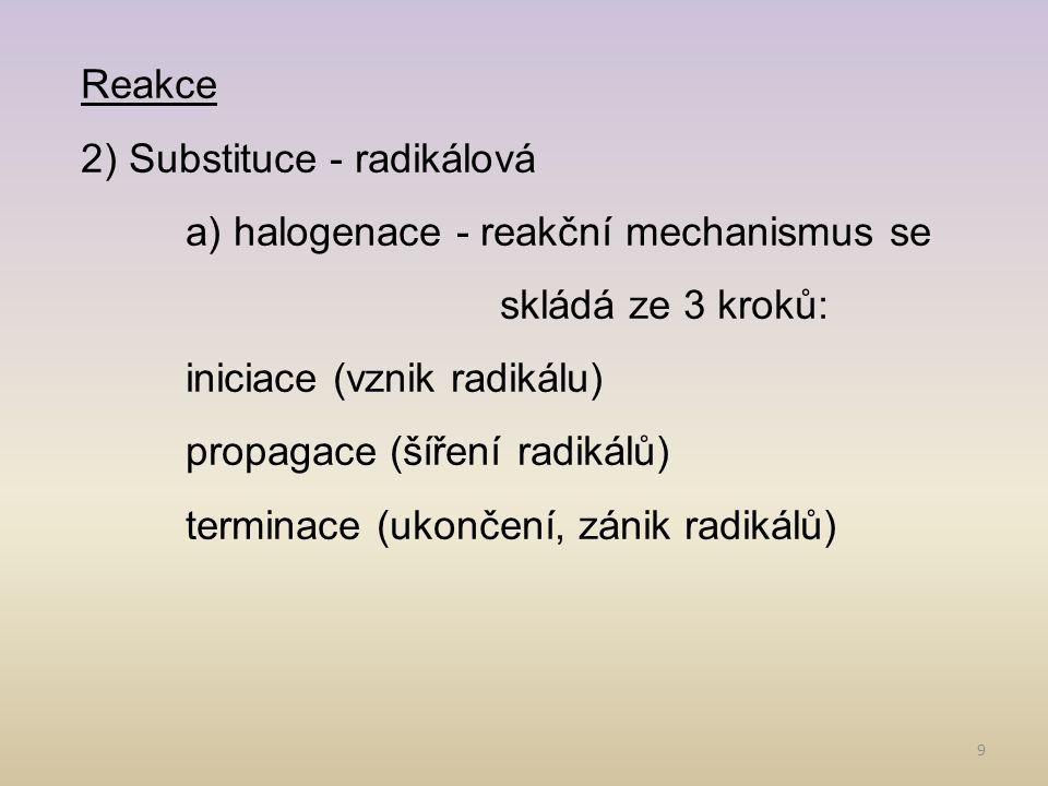 Reakce 2) Substituce - radikálová. a) halogenace - reakční mechanismus se skládá ze 3 kroků: iniciace (vznik radikálu)