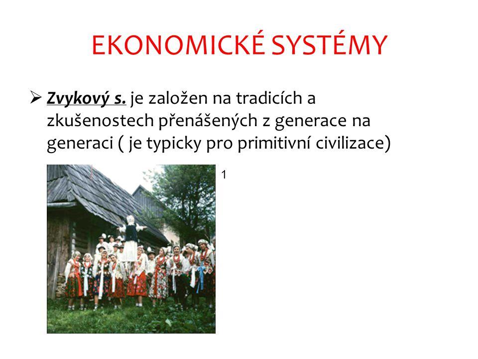 EKONOMICKÉ SYSTÉMY Zvykový s. je založen na tradicích a zkušenostech přenášených z generace na generaci ( je typicky pro primitivní civilizace)
