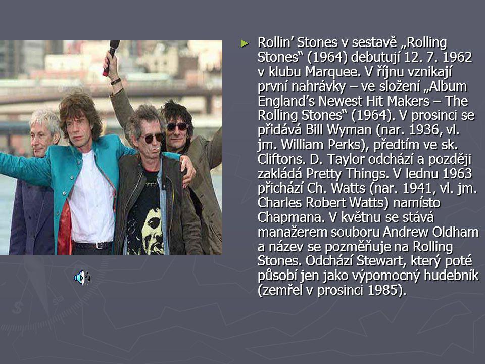 """Rollin' Stones v sestavě """"Rolling Stones (1964) debutují 12. 7"""