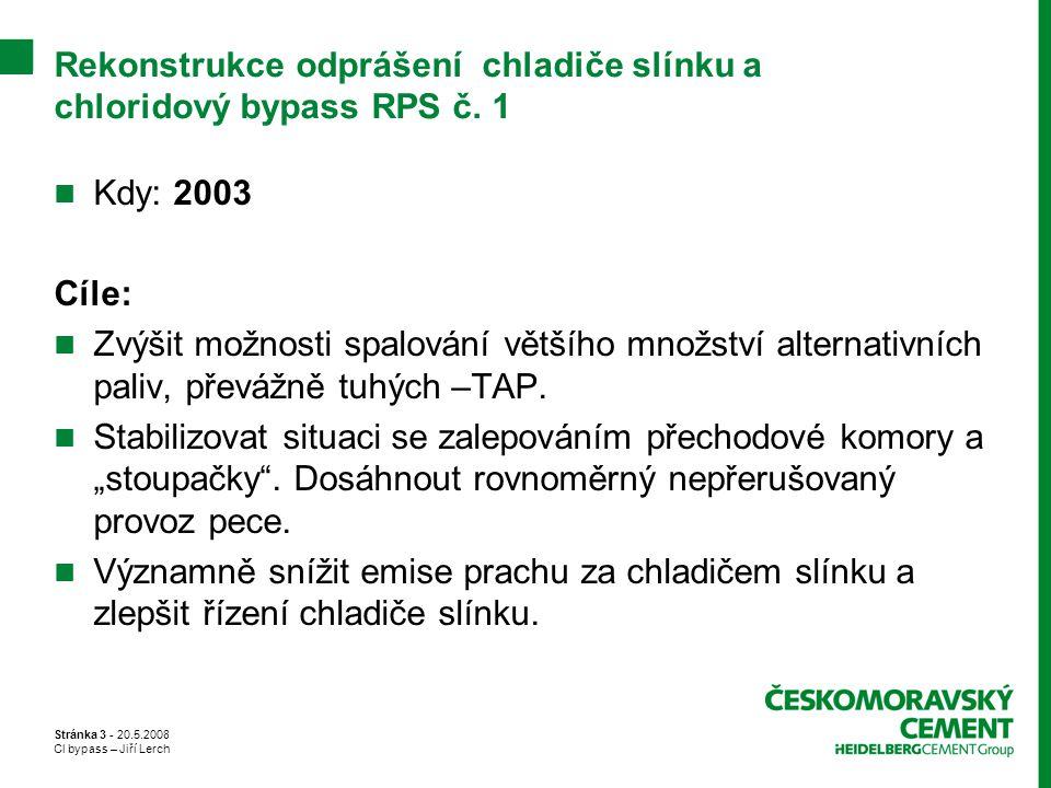 Rekonstrukce odprášení chladiče slínku a chloridový bypass RPS č. 1