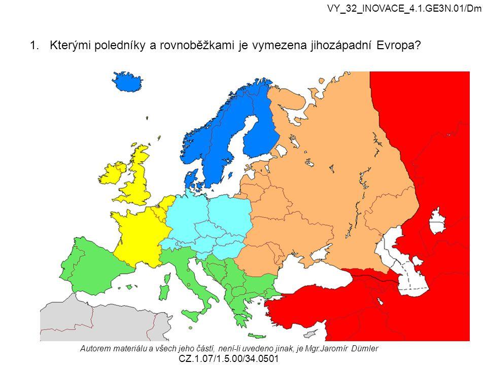 1. Kterými poledníky a rovnoběžkami je vymezena jihozápadní Evropa