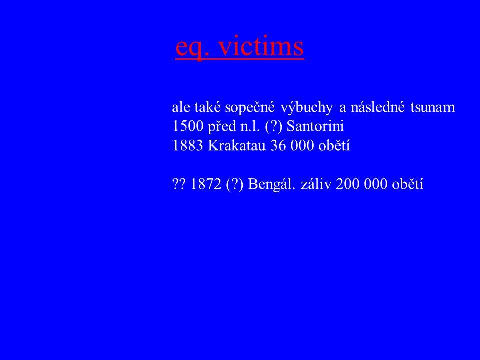 eq. victims ale také sopečné výbuchy a následné tsunam