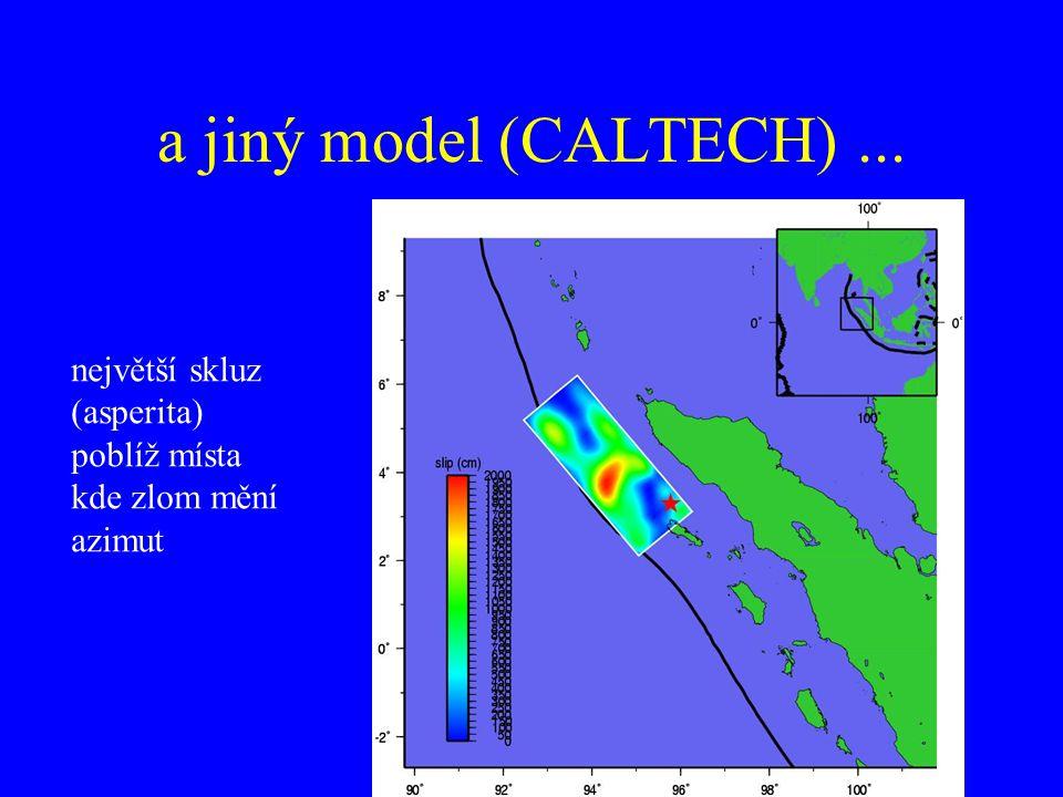 a jiný model (CALTECH) ... největší skluz (asperita) poblíž místa