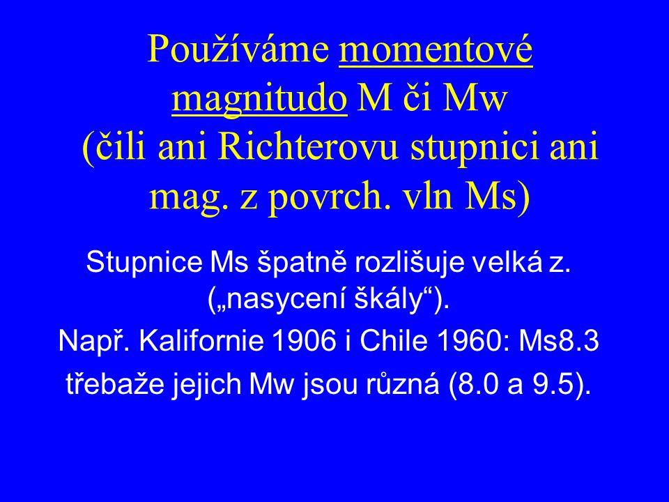 Používáme momentové magnitudo M či Mw (čili ani Richterovu stupnici ani mag. z povrch. vln Ms)