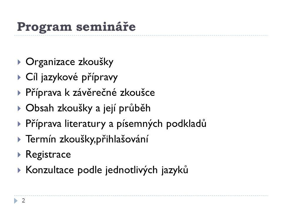 Program semináře Organizace zkoušky Cíl jazykové přípravy