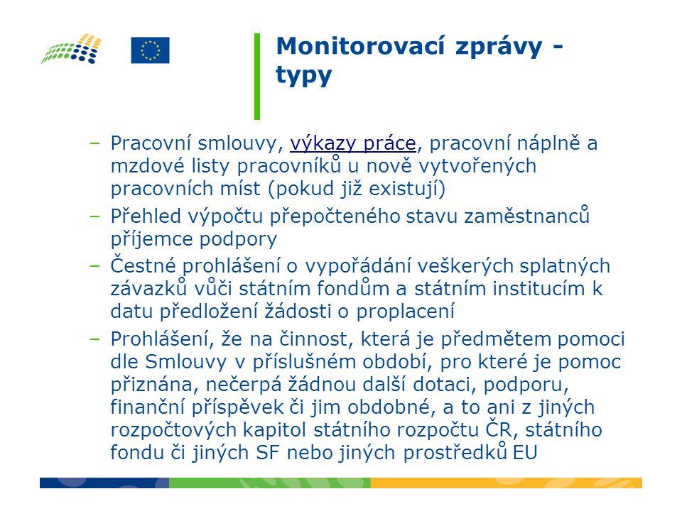 Monitorovací zprávy - typy