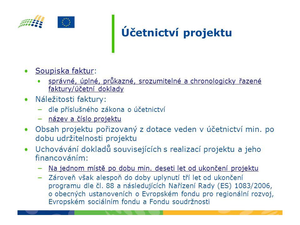 Účetnictví projektu Soupiska faktur: Náležitosti faktury: