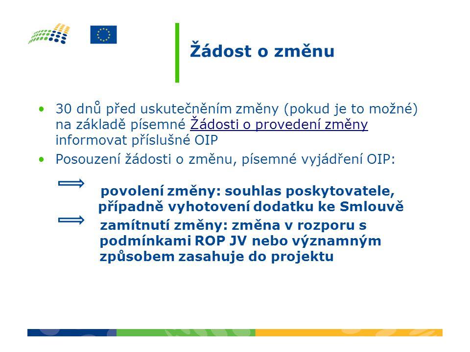 Žádost o změnu 30 dnů před uskutečněním změny (pokud je to možné) na základě písemné Žádosti o provedení změny informovat příslušné OIP.