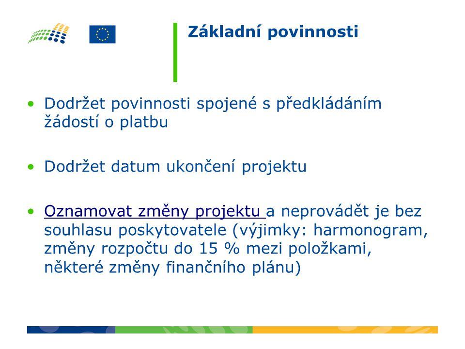 Základní povinnosti Dodržet povinnosti spojené s předkládáním žádostí o platbu. Dodržet datum ukončení projektu.
