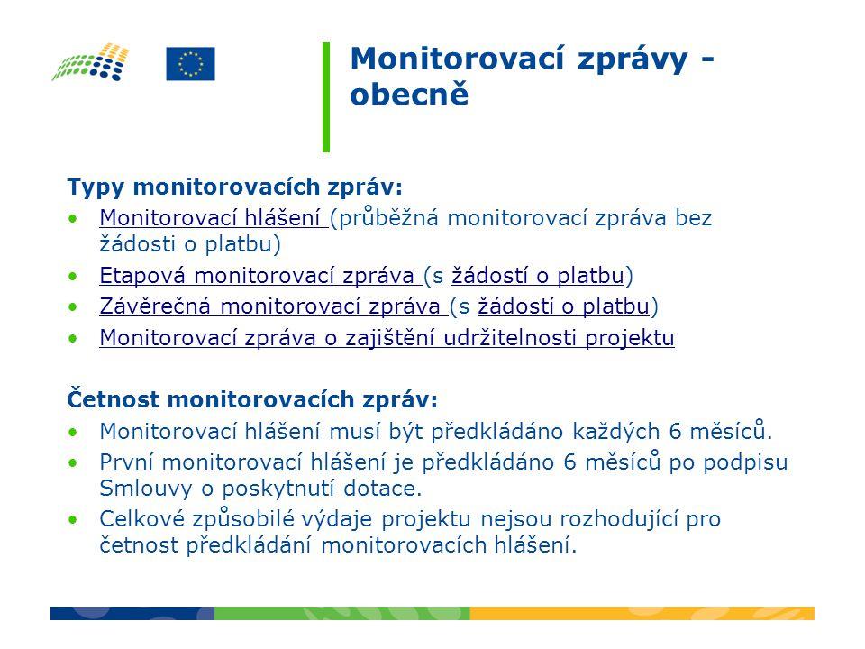 Monitorovací zprávy - obecně