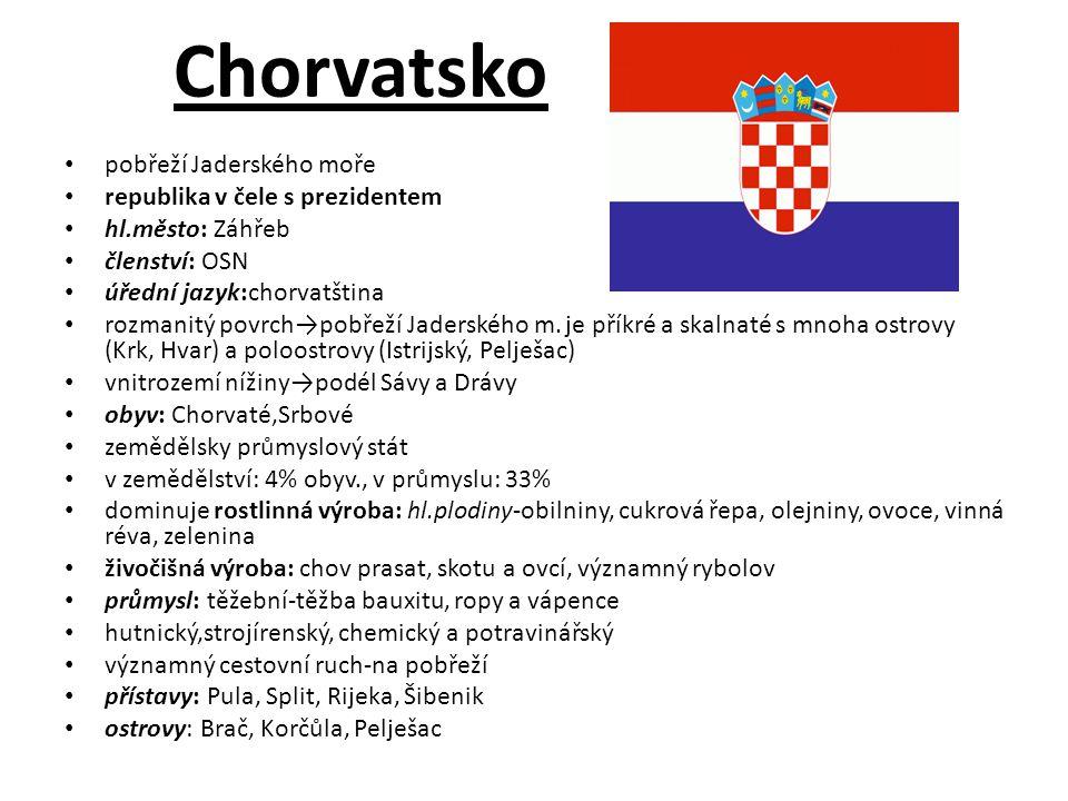 Chorvatsko pobřeží Jaderského moře republika v čele s prezidentem