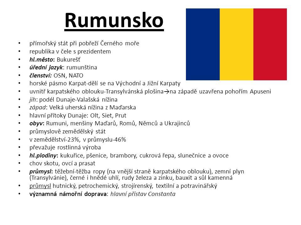 Rumunsko přímořský stát při pobřeží Černého moře