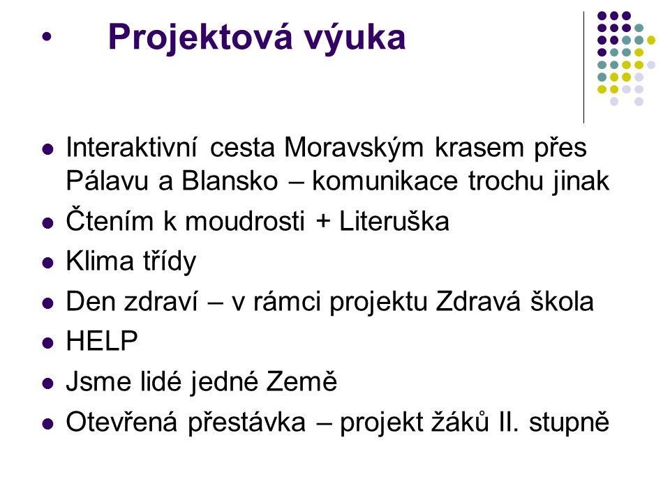 Projektová výuka Interaktivní cesta Moravským krasem přes Pálavu a Blansko – komunikace trochu jinak.