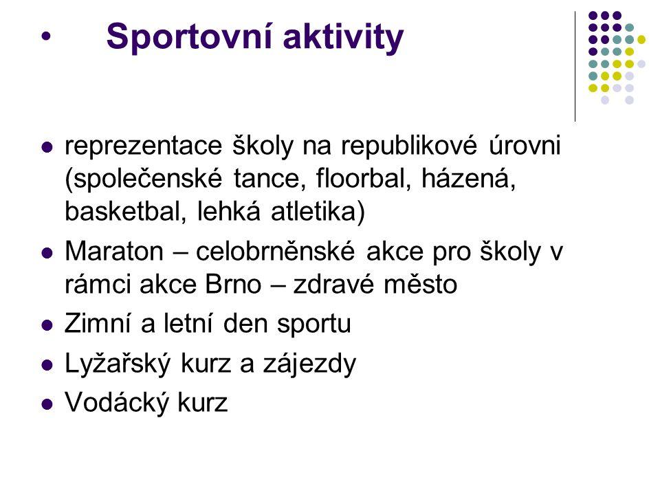 Sportovní aktivity reprezentace školy na republikové úrovni (společenské tance, floorbal, házená, basketbal, lehká atletika)