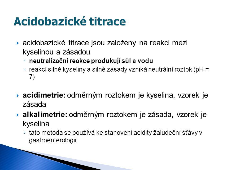Acidobazické titrace acidobazické titrace jsou založeny na reakci mezi kyselinou a zásadou. neutralizační reakce produkují sůl a vodu.
