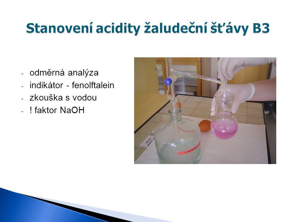 Stanovení acidity žaludeční šťávy B3