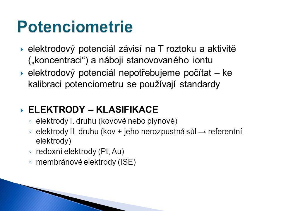 """Potenciometrie elektrodový potenciál závisí na T roztoku a aktivitě (""""koncentraci ) a náboji stanovovaného iontu."""