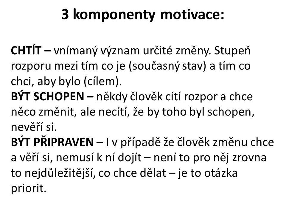 3 komponenty motivace: CHTÍT – vnímaný význam určité změny. Stupeň rozporu mezi tím co je (současný stav) a tím co chci, aby bylo (cílem).