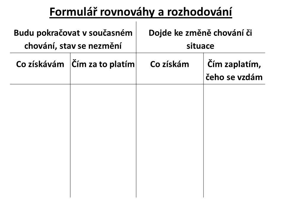 Formulář rovnováhy a rozhodování