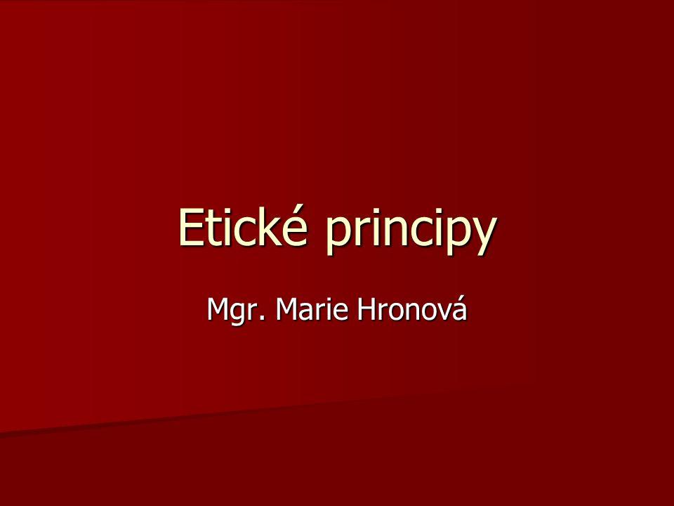 Etické principy Mgr. Marie Hronová
