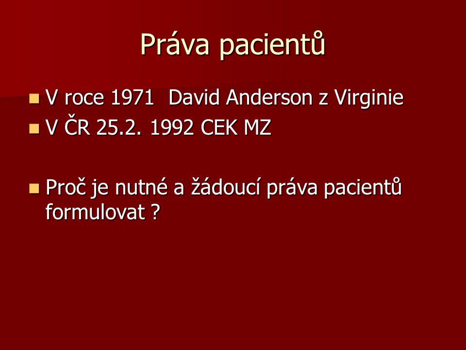 Práva pacientů V roce 1971 David Anderson z Virginie