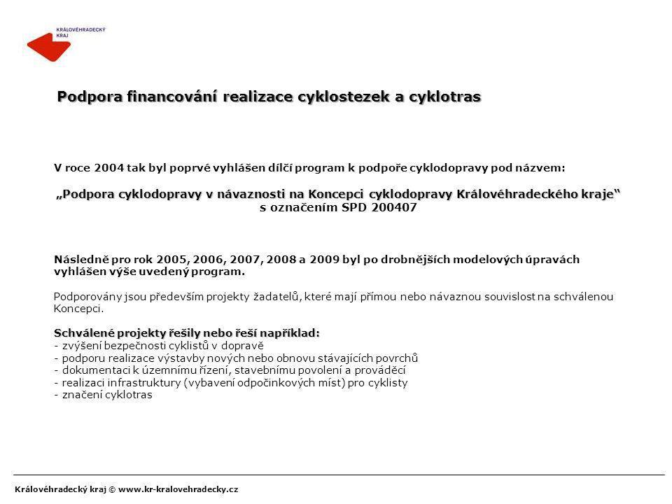Podpora financování realizace cyklostezek a cyklotras