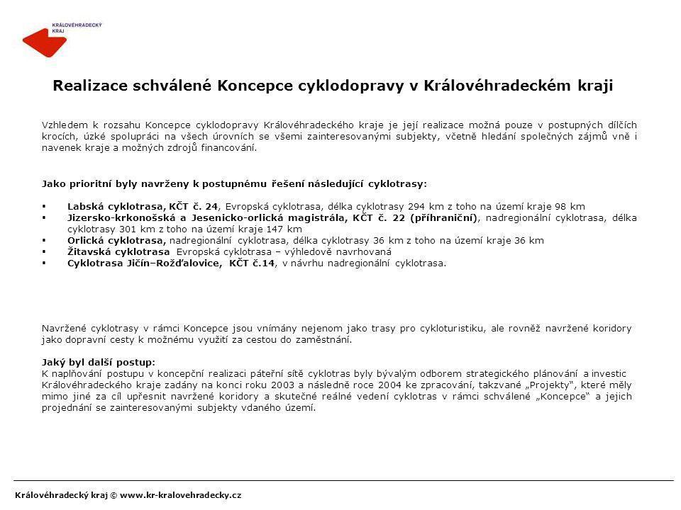 Realizace schválené Koncepce cyklodopravy v Královéhradeckém kraji
