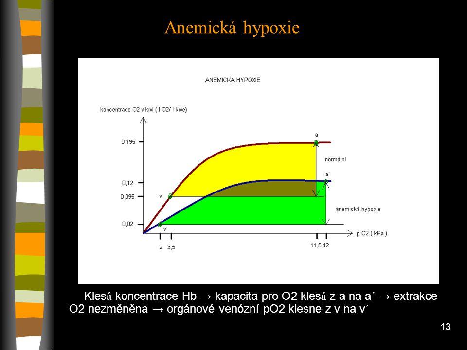 Anemická hypoxie Klesá koncentrace Hb → kapacita pro O2 klesá z a na a´ → extrakce O2 nezměněna → orgánové venózní pO2 klesne z v na v´