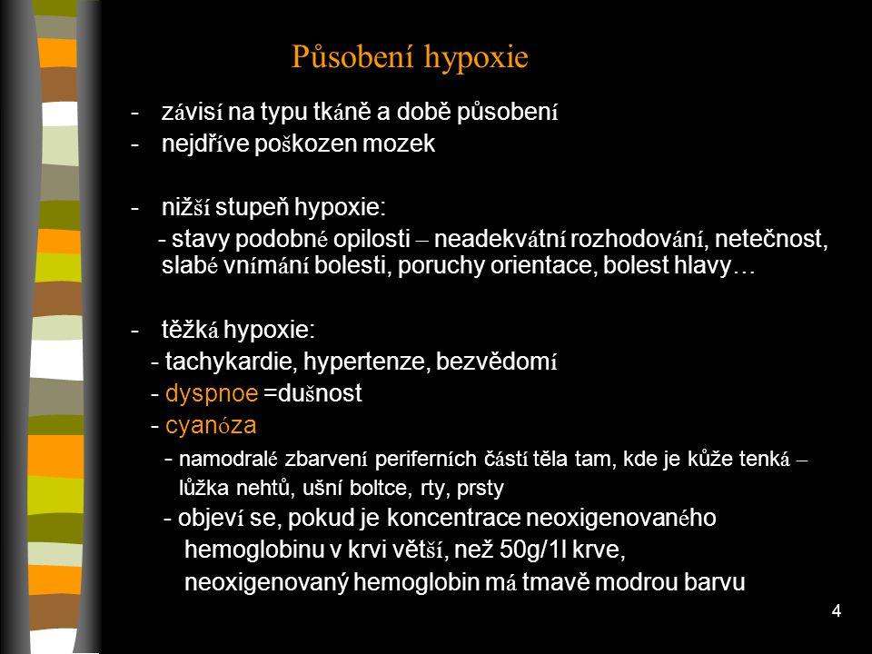 Působení hypoxie závisí na typu tkáně a době působení