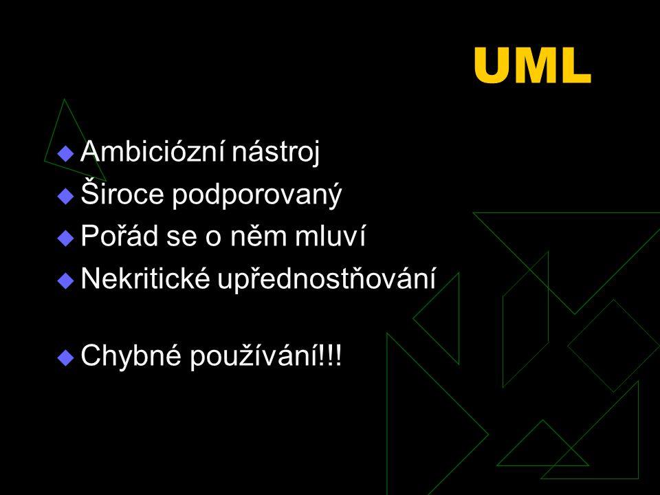 UML Ambiciózní nástroj Široce podporovaný Pořád se o něm mluví