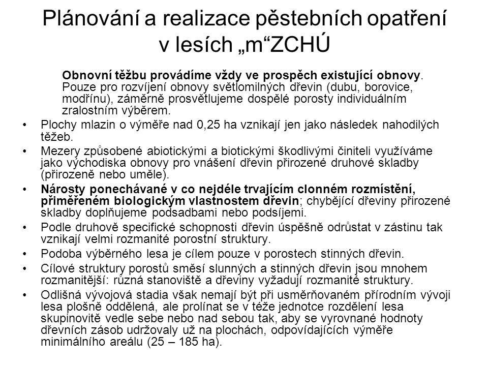 """Plánování a realizace pěstebních opatření v lesích """"m ZCHÚ"""