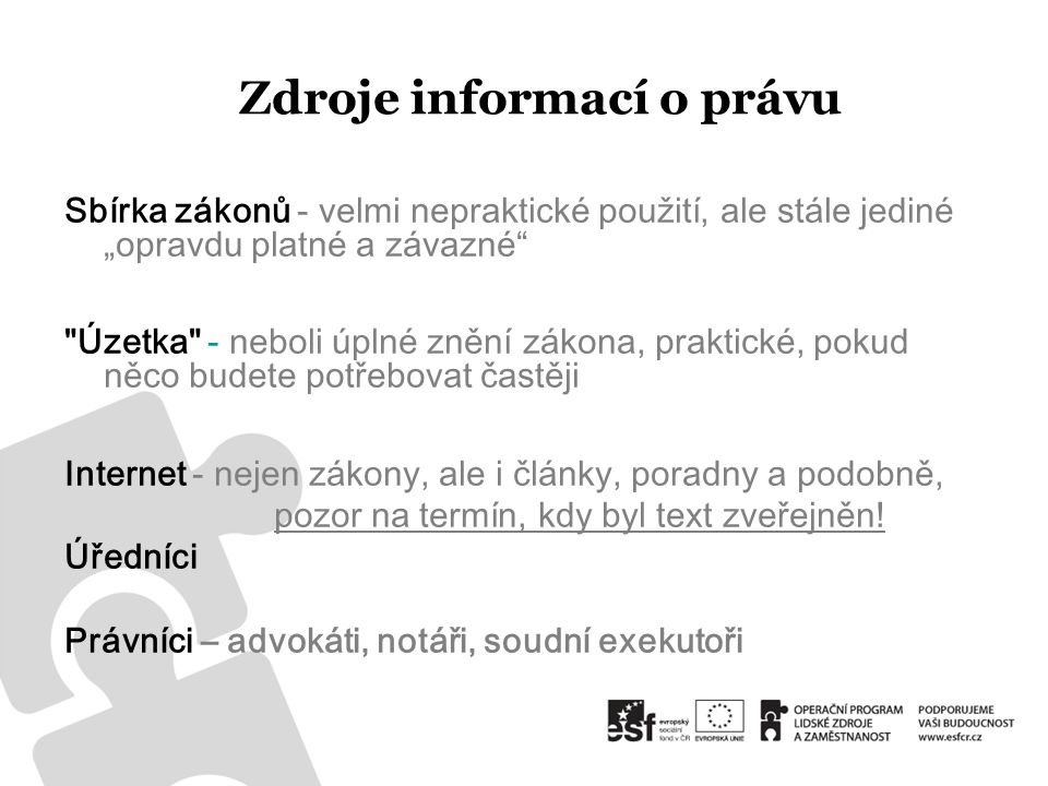 Zdroje informací o právu