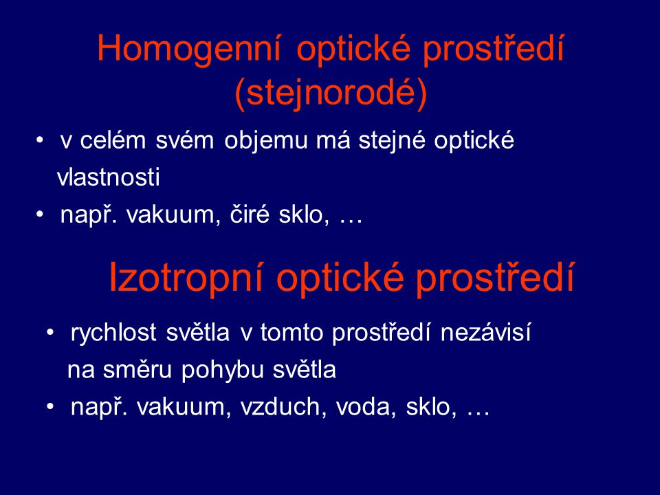 Homogenní optické prostředí (stejnorodé)