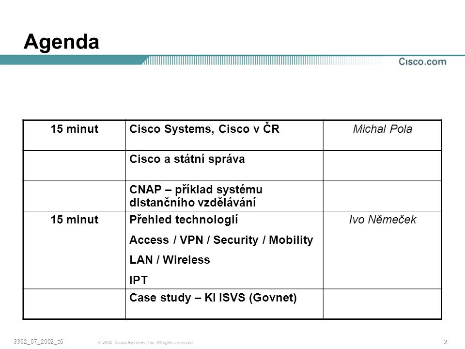 Agenda 15 minut Cisco Systems, Cisco v ČR Michal Pola