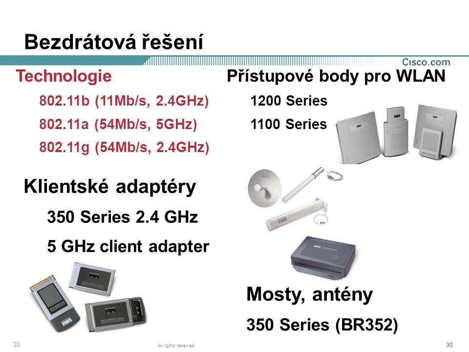 Bezdrátová řešení Klientské adaptéry Mosty, antény Technologie
