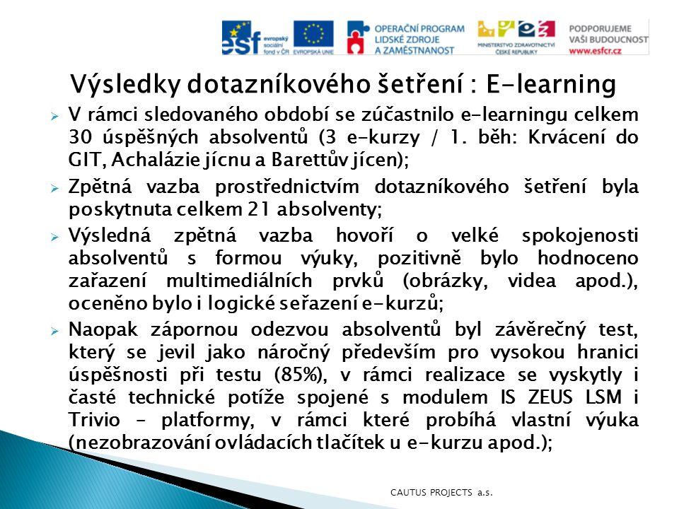 Výsledky dotazníkového šetření : E-learning