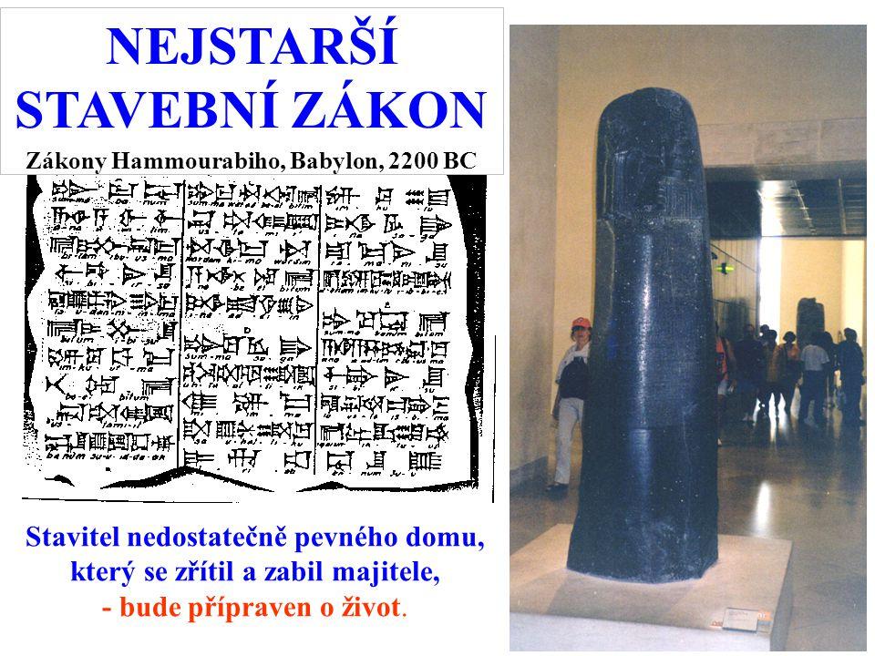 NEJSTARŠÍ STAVEBNÍ ZÁKON Zákony Hammourabiho, Babylon, 2200 BC