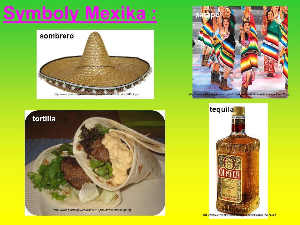 Symboly Mexika : sarape sombrero tequila tequila tortilla