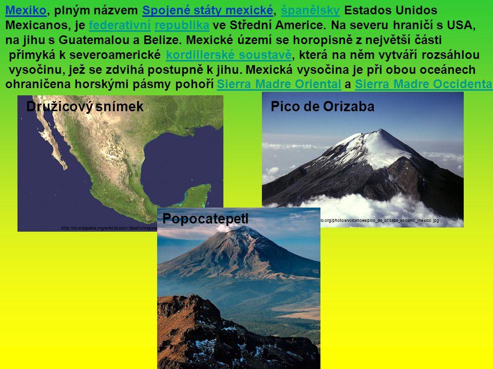 Družicový snímek Pico de Orizaba Popocatepetl