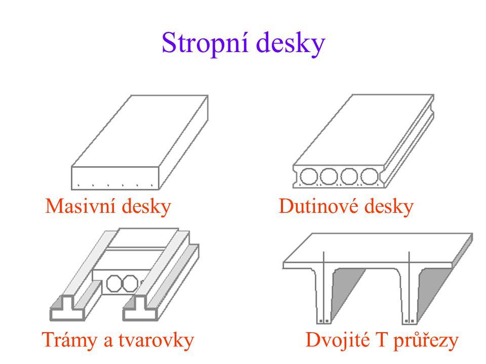 Stropní desky Masivní desky Dutinové desky Trámy a tvarovky